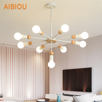 AIBIOU Nordic LED Chandelier For Living Room Modern E27 Chandeliers Wooden Lustre Hanging Luminaire Indoor Lighting Fixtures