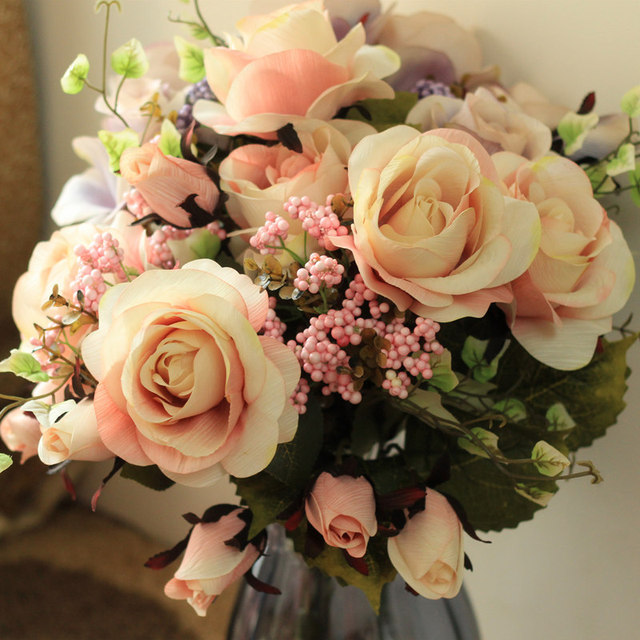 1 PCS New Beautiful Large Roses Bunch Artificial Flower Bouquets ...