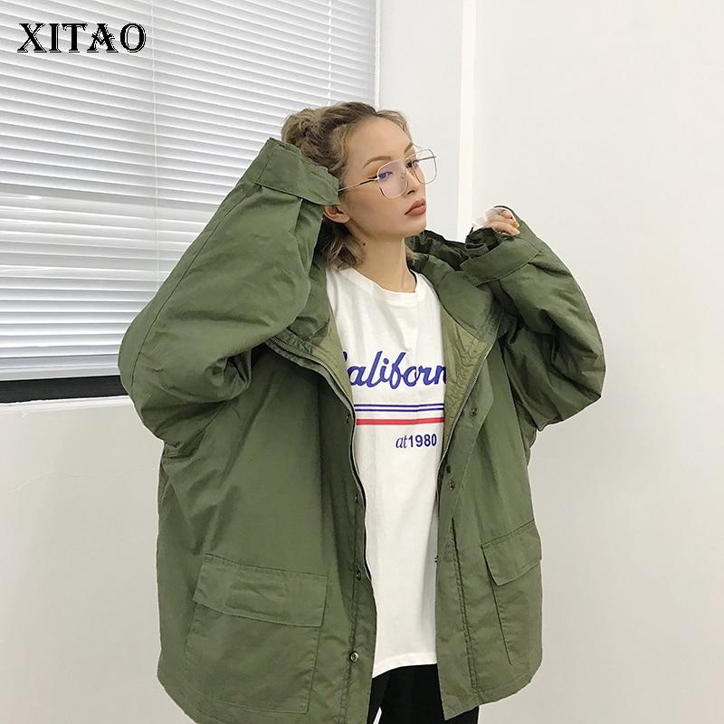 Femmes Green Lâche Casual Zll1942 Couleur Couvert Automne Mode 2018 Solide Manches Zll1942 Bouton Corée Parka Femme xitao army Plein Black 1Fq4ww