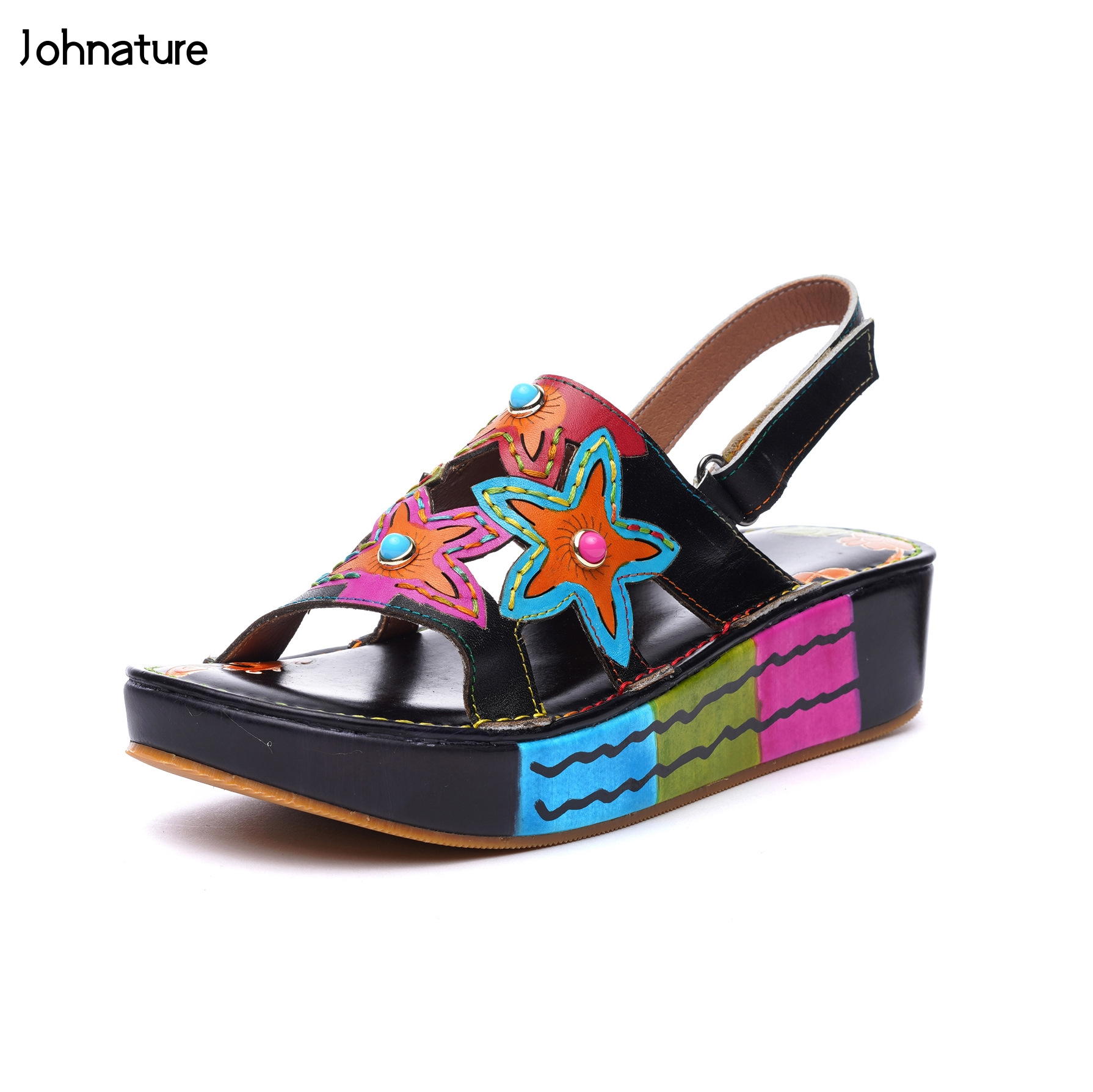 Johnature Genuine Leather New Ankle wrap Summer Sandals Casual Hook Loop Hand painted Retro Totem Wedges