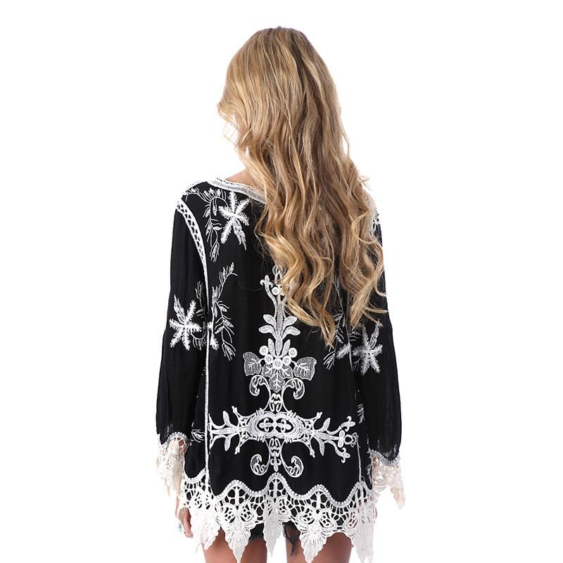 SESOAF Nuevo 2017 SummerElegant crochet encaje floral Boho Túnica blusas blanco camisa de la blusa de Las Mujeres 3/4 de la manga 2017 Verano de Las Muchachas hollo
