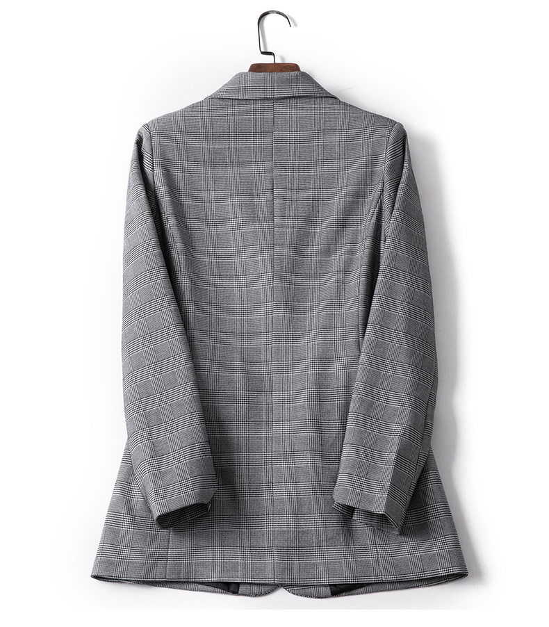 Casual Plaid Women Blazer Jacket Notched Collar Single Breasted Female Suit Coat Fashion Outerwear Blaser Femme Jacket Tops