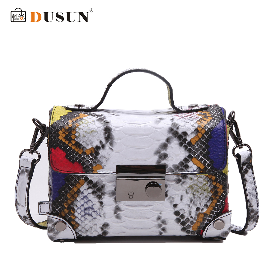 DUSUN Luxury Brands Messenger Bag Casual Women Bag Handbags Fashion Colorful Serpentine Tote Vintage Style Small Messenger Bag