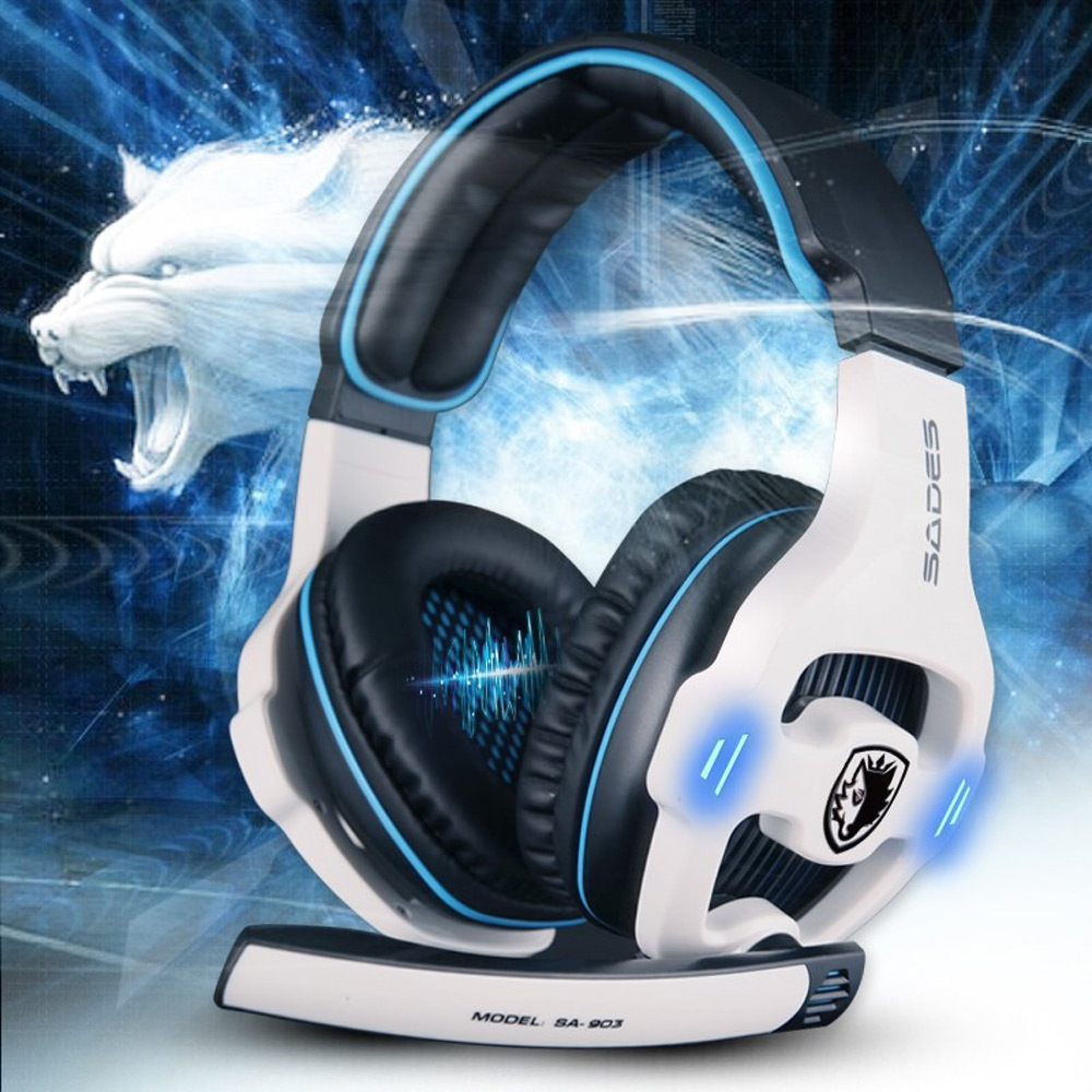 Sades SA -903 Wired Stereo 7.1 Surround Sound Pro USB Gaming Headset Microphone Mic Headband Headphone LED Light for Computer
