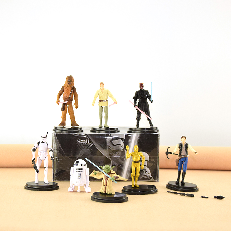 WVW 8pcs/Set Movie Star Wars Master Yoda Darth Vader DV Phasma Rey Model PVC Toy Action Figure Decoration For Collection Gift