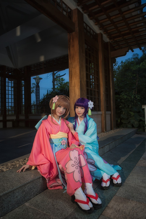 Cardcaptor Sakura kinomoto sakura and Daidoji Tomoyo printting kimono with belt and  hair accessory