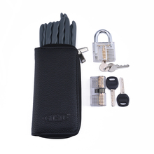 Training locks padlock unlocking tool kit Lock Pick With Two Transparent Lock for Locksmith Practice disc locks pick