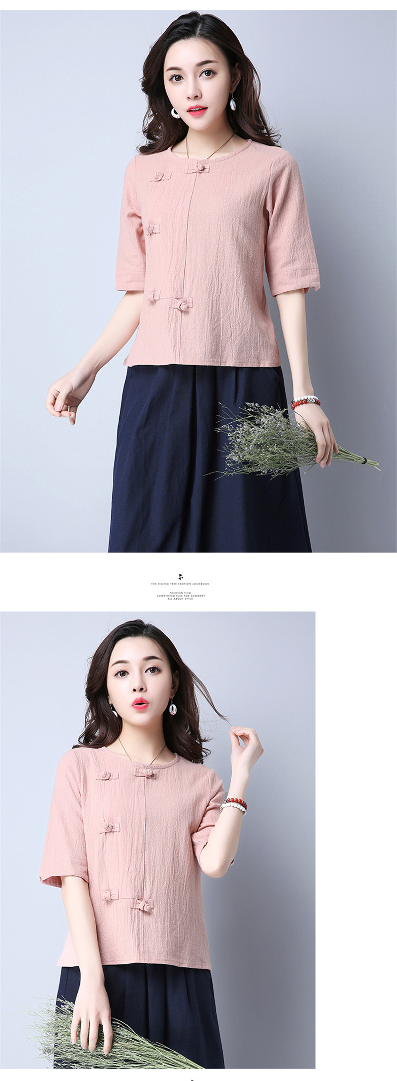 Cotton 2018 Summer Half Sleeve Loose Lady Vintage Women Shirt O Neck Chinese Style Linen T-Shirt Button 3XL 19