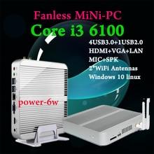 Mini PC Windows 10 Skylake Core i3 6 10 0U Barebone DP Порты и разъёмы 3 год гарантии windows tv box 4 К HD Mini PC i3 6 10 0 Mini PC