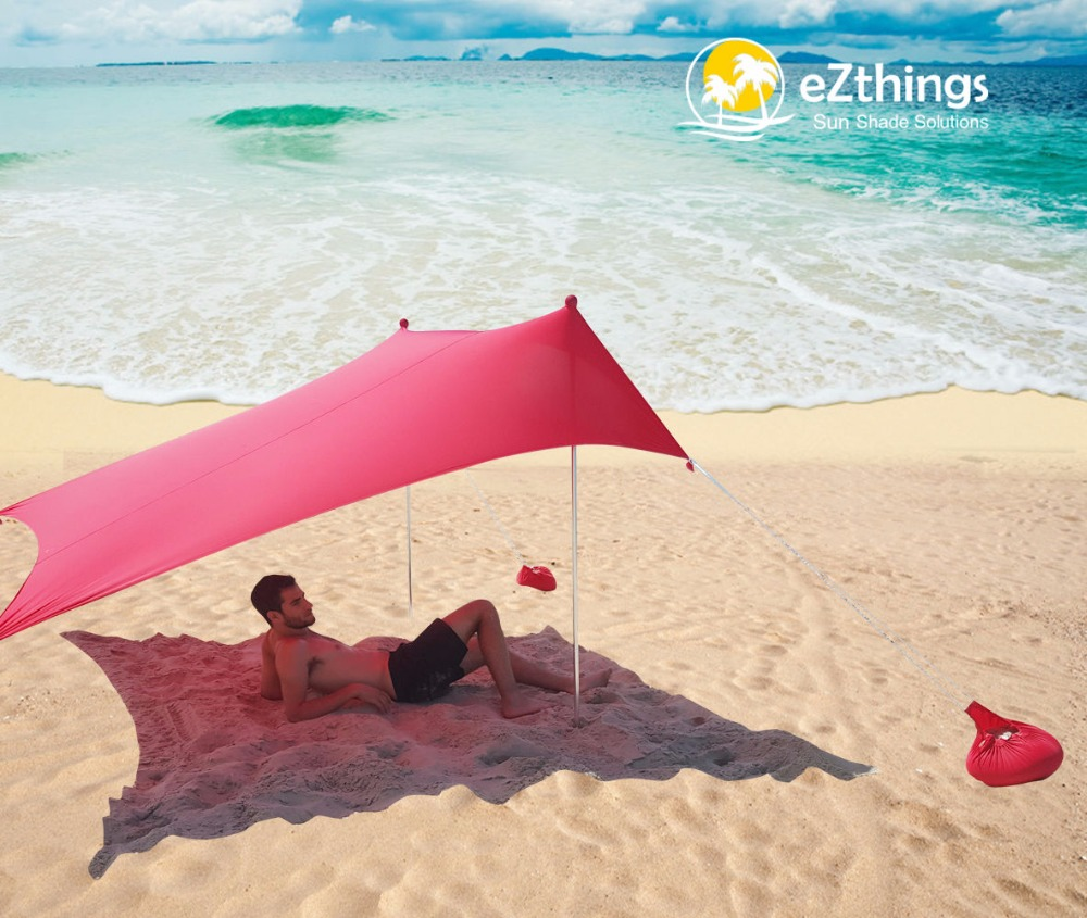 HOT Sea Beach CampingTent bâche parasol gonflable abri auvent sable ancre sac de transport auvent pluie protéger Portable 2 pôles - 4