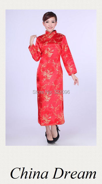 Shanghai Story Qipao traditional chinese long sleeve cheongsam dress Chinese Style wedding Dress cheongsam wedding dresses E0013