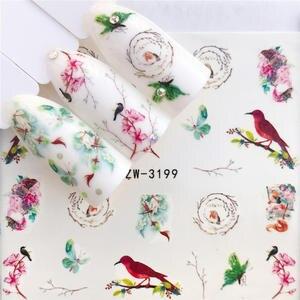 WUF 1 шт., цветочные слайдеры, наклейки на воду для нейл-арта, Переводные татуировки, гель для маникюра, клейкие украшения, наконечники