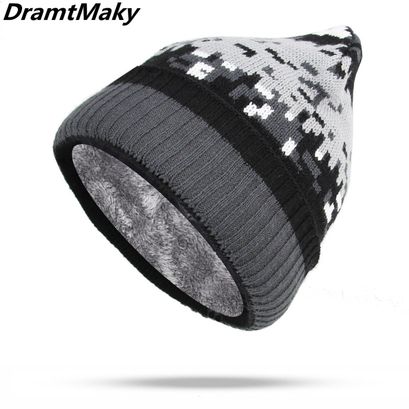 Fashion Camouflage Pattern Men Winter Hat Male Knitted Camo Winter   Beanie   Women Men   Skullies     Beanies   Cotton Fleece Lining army