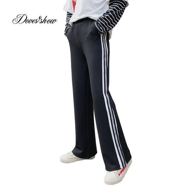 01c84e996379e 2018 Spring Side Silver Striped High Waist Loose Pants Black Slacks Female  Straight Pants Casual Sweatpants