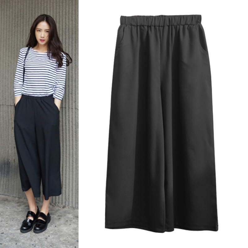 2018 Spring Summer Fashion High Waist Chiffon Wide Leg Pants Female Plus Size Loose Casual Nine Yards Pants Trouser For Women