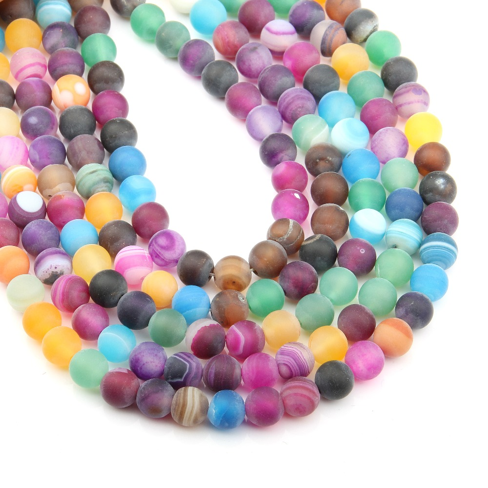6,8,10mm Matte Round Mixed Color Stripe Agates Natural Stone Beads For Necklace Bracelets Jewelry Making Diy 15free Shipping Beads