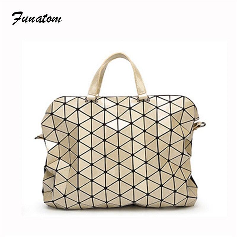 Women Bags Geometric Plaid Folding Luxury Handbags female Bags Designer Large Tote Bag Ladies briefcase Evening Bags Bolso