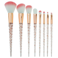 New Crystal Diamond 8 PCS Colorful Brush Makeup Set Nylon Hair Eyebrow Eyeshadow Powder Rose Golden Portable Brushes