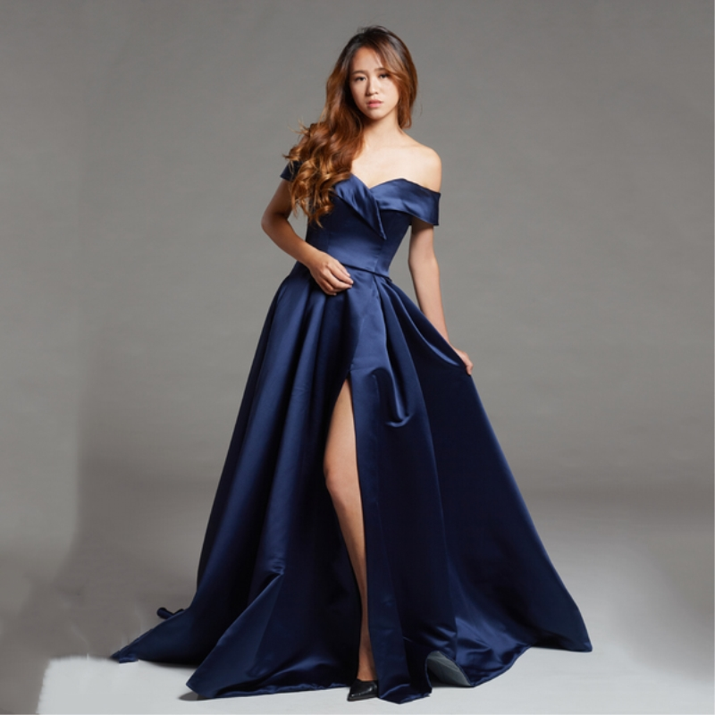 Elegant Prom Dresses 2018 Sexy Sweetheart Neck Backless Navy Blue