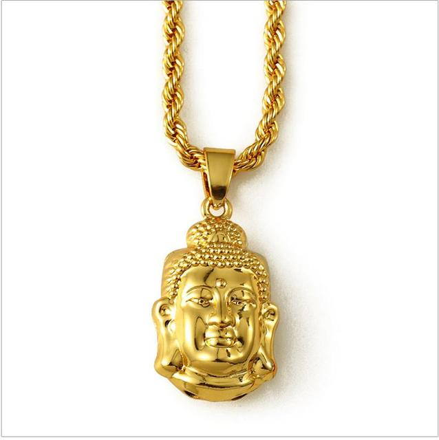 Free shipping gold buddha pendant necklace hip hop jewelry men gold free shipping gold buddha pendant necklace hip hop jewelry men gold rope chain necklaces for women mozeypictures Images