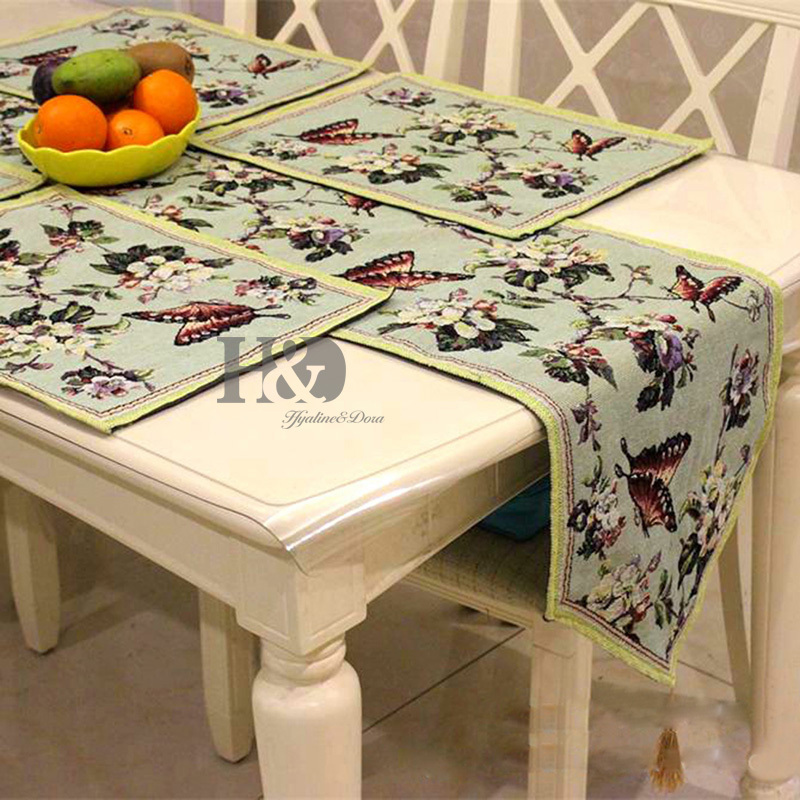 Butterflies Over Flowers Tapestry Wedding Bed Table Runner Table Cloth  Dining Mat Slip Resistant Placemat Table Wedding Decor In Table Runners  From Home ...