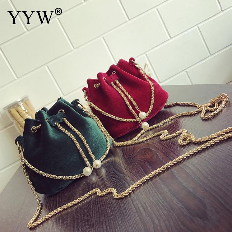 Pano de lã Bolsas de Cordão com Bolsa de Ombro Cadeia para as Mulheres da Moda Balde Bolsa Novo Mini Pequena Forma Quadrada Daybags