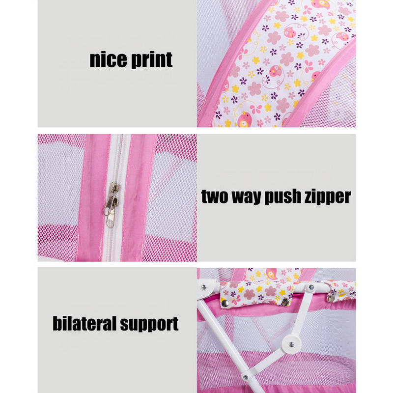 Lit bébé berceau lit avec moustiquaire, cadre en acier pliable bébé cirb, portable nouveau-né bébé lit à bascule avec 4 roues verrouillables - 4