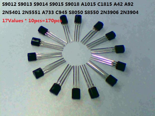 17values*10pcs=170pcs <font><b>transistor</b></font> kit S9012 S9013 S9014 S9015 9018 S8050 S8550 A42 A92 2N5401 5551 <font><b>A733</b></font> C945 3906 3904 set image