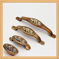 Single/64/96/128mm European Kitchen Furniture handle pulls antique drawer knob with Rose Carving
