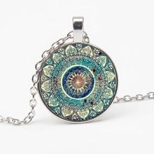NEW Vintage Buddhist Chakra Glass Round Pendant Necklace Fashion Om Indian Yoga Mandala Wear Jewelry Female  Gift Party Souvenir