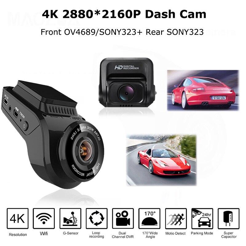 Carro traço cam 2160 p 4 k ultra hd com 1080 p câmera traseira wifi gps logger adas dupla lente dashcam carro dvr visão noturna + 32g cartão sd - 2