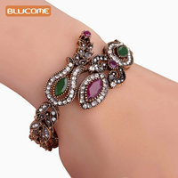 Latest Vintage Women Party Bangles Antique Gold Plated Red Acrylic Lily Flower Bracelets Full Crystals Turkish