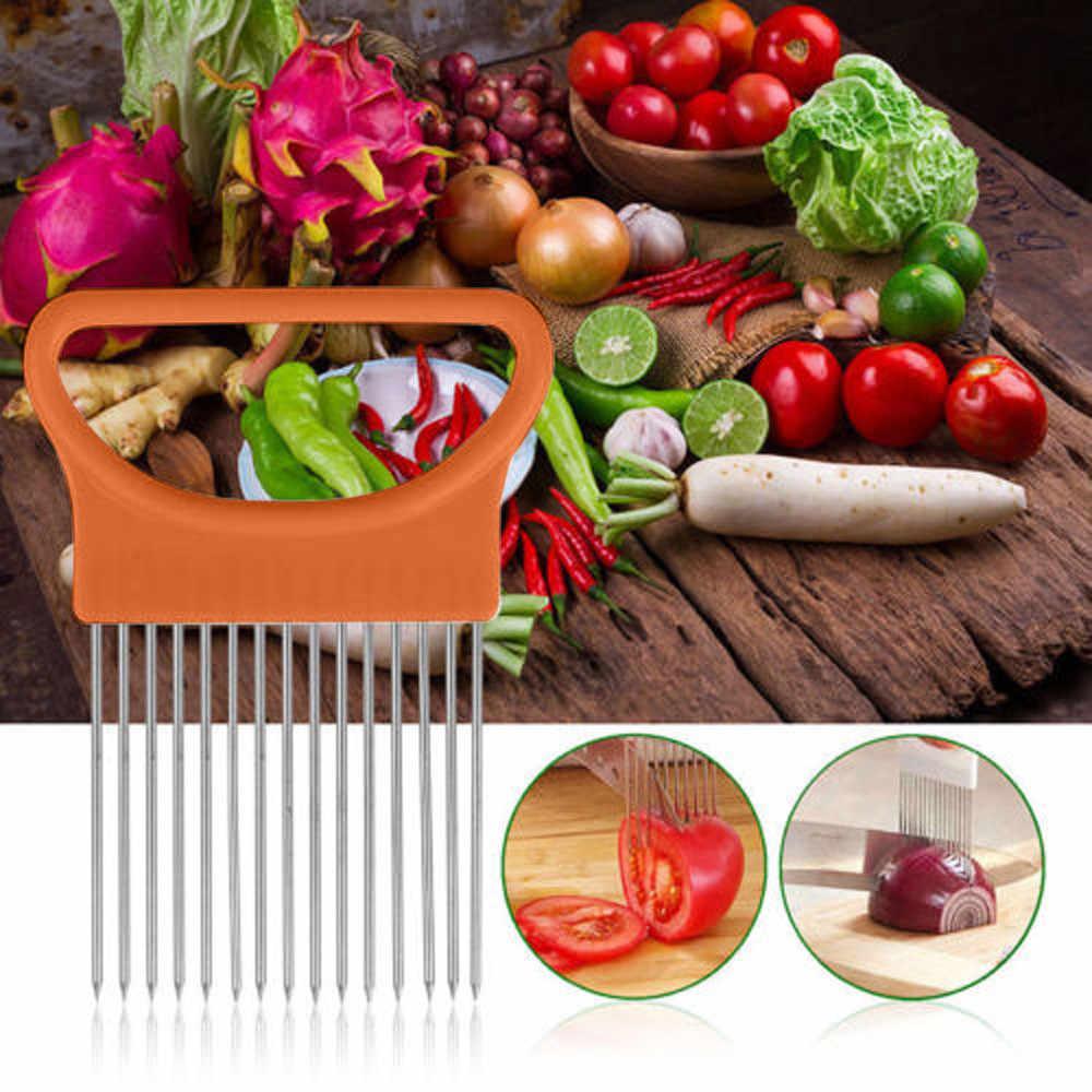 TENSKE томатный лук овощи слайсер режущий держатель для помощи руководство для нарезки безопасная вилка * 30 hogar cocina 2017 кухонная утварь