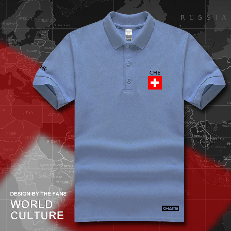 Swiss Confederation Switzerland polo shirts men short sleeve white brands  printed for country CHE CH