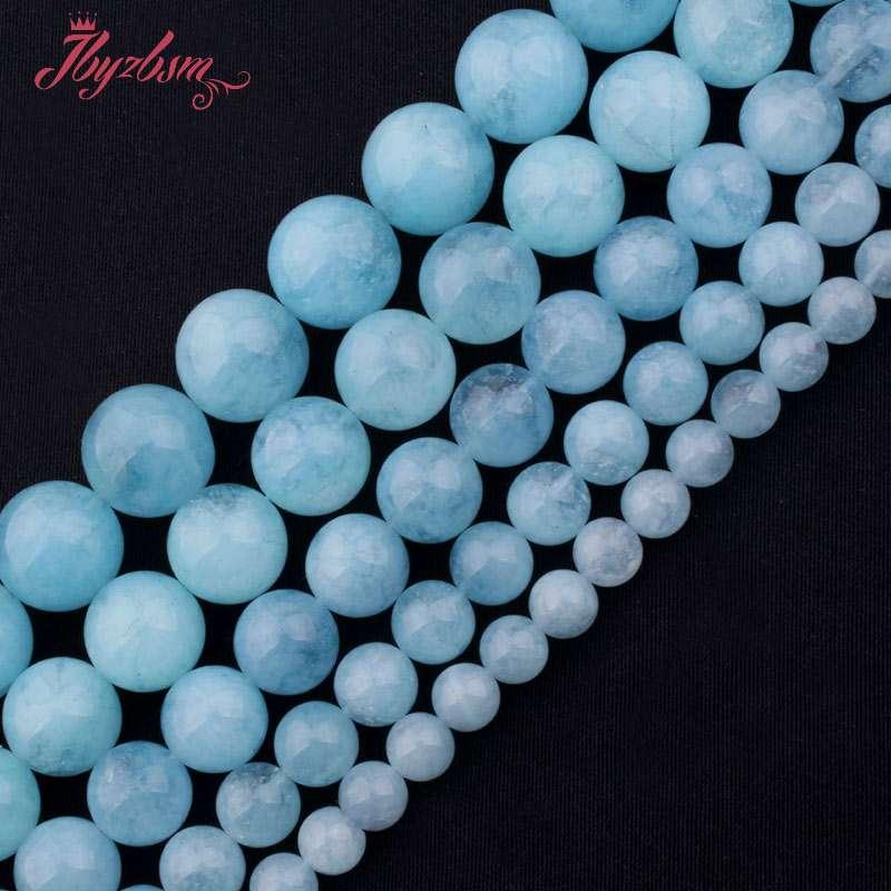 6,8,10,12,14mm Smooth Round Bead Blue Aquamarines Quartz Stone Beads For DIY Necklace Bracelets Jewelry Making 15 Free Shipping