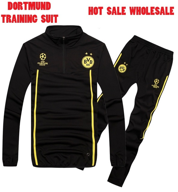 59a363a54b27 Borussia Dortmund Training Suit 14 15 Men Soccer Champions League Dortmund  Tracksuits Soccer Jackets Football Pants Sportswear