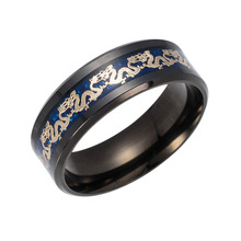 8MM Blue Black Ring Men Chinese Traditional Gold Color Dragon Inlay Ring 316L Stainless steel Ring wholesale Jewelry