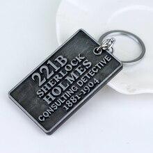 Sherlock 221B Baker Street Door Plate Shaped Alloy Keychain