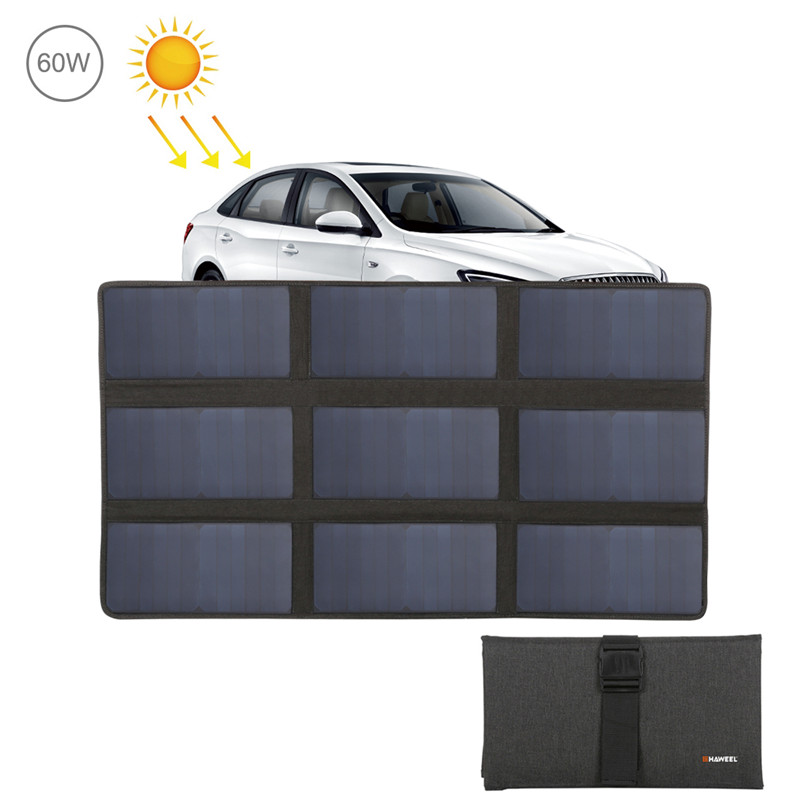 HAWEEL 60W Foldable Solar Charger Outdoor Travel Rechargeable Folding Bag USB Port 9 Solar Panels for