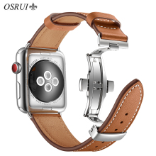 OSRUI Leather strap For Apple watch band 4 44mm 40mm iwatch 3 band correa apple 42mm 38mm wrist bracelet Belt Watch Accessories