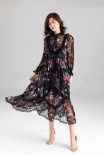 Women High quality Chiffon dress New 2019 summer long sleeves floral print lace patchwork dress Chic party dress A112
