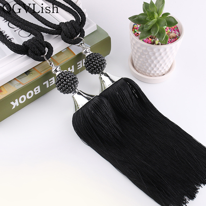 QGVLish 2Pcs Pearl Beads Curtain Tiebacks Tassel Fringe Curtain Hanging Ropes Brush Buckle Straps Curtain Accessories Home Decor