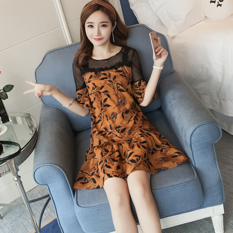 Maternity dress 2017 summer new dress Short sleeve net yarn chiffon fake two pregnant women dress HS2063 mother daughter dresses