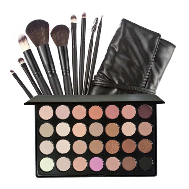 28 earth Colors  Matte Natural Waterproof EyeShadow Palette with 9 pcs Brushes and Bag Professional  Cosmestic Makeup set