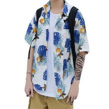 Yfashion Unisex Floral Hawaiian Style Shirt Man Leafs Printing Loose Robe Large Size Sunscreen Tops Shirts Summer