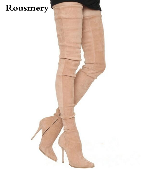 Hot sale women's thigh high boots black grey beige elastic thin high heels over the knee boots pointed stretch long boots black stretch fabric suede over the knee open toe knit boots cut out heel thigh high boots in beige knit elastic sock long boots