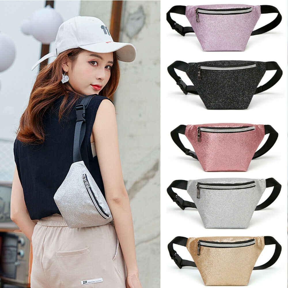 2019 el más nuevo caliente Fanny paquete de la PU láser bolso de lentejuelas de cintura pecho bolsa playa bolsa de dinero negro oro rosa plata púrpura