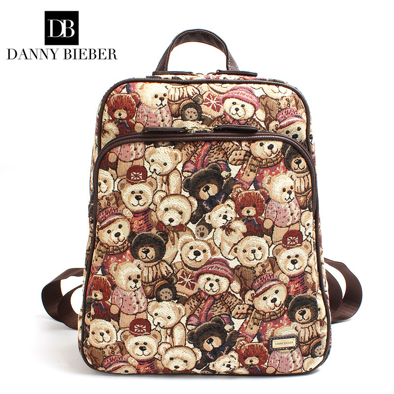 DANNY BIEBER Cute Bears Cartoon Backpack For Women Girls Canvas Bag Lovely Printing Rucksacks Backpack Youth Travel Shoulder Bag
