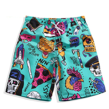 fast dry loose cartoon board shorts men summer animal tiger rooster baggy 4XL