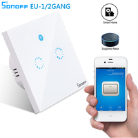 Sonoff T1 EU Remote Control Light Switch Wall Panel 1 2 Gang Wireless Smart Touch ON